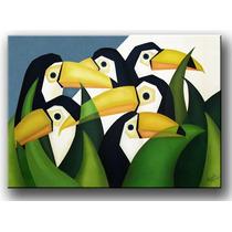 Quadro Decorativo Gravura Tela Painel Cubismo Tucanos 100x70