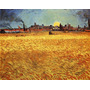 Campo Cidade Fabricas Sol Reprodução De Van Gogh Na Tela