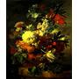 Lindo Arranjo De Flores Vaso 1726 Pintor Huysum Tela Repro