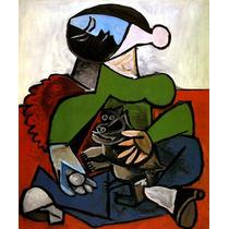 Arte Abstrata Mulher Com Seu Cão Pintor Picasso Tela Repro