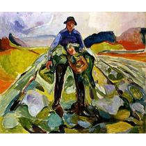 Homem No Campo Colhendo Couve 1916 Pintor Munch Tela Repro