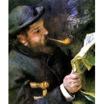 Pintor Claude Monet Lendo 1872 Reprodução De Renoir Na Tela