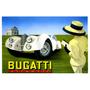 Carro Automóvel Clássico Antigo Bugatti Branco Poster Repro