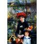 Mãe E Filha Lago Flores Jardim Pintor Renoir Tela Repro