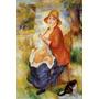 Mãe Filho Bebê Amamentação Jardim Pintor Renoir Tela Repro