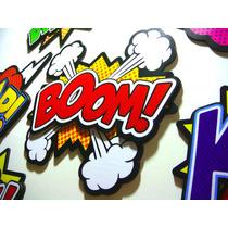 Kit 7 Quadros Em Relevo Boom Pow Bang Super Herois Pop Art