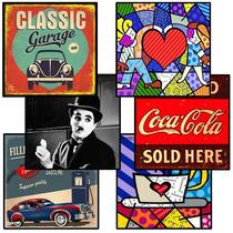 Placas Decorativas Retrô, Vintage, Bebidas, Romero Britto D+