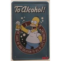 Placa De Metal Decoração De Parede Simpsons Homer Churrasco