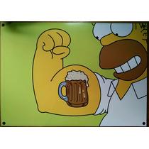 Placas De Ferro Decoração - Homer Simpson Cerveja 40 X 32cm