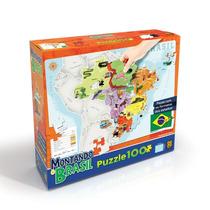 Novo Quebra Cabeça Puzzle Grow 100 Peças Montando O Brasil