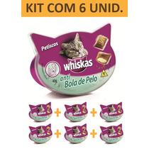 Petisco Gato Whiskas Anti Bola De Pelo - Kit Com 6 Unidades
