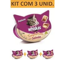 Petisco Gato Whiskas Templations Salmao - Kit Com 3 Unidades