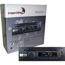 Rádio P/ Carro Mp3 Cd Cd-r Wma Fm Usb Sd Mp3 Aux Kv-9101