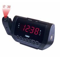 Rádio Relógio Digital Projetor De Horas Carregador Usb Nrc-1
