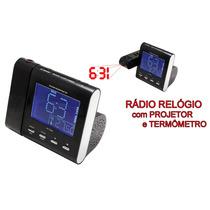 Rádio Relógio Fm C/ Projetor Powerpack Rf-236.n