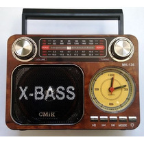 Rádio Portátil Am Fm Sw Usb Sd Lanterna Recarregável Relógio