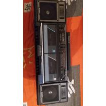 Radio Toca Fitas Antigo Sony Cfs W7500 Parado Com Caixas