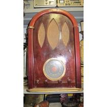 Radio Valvulado Antigo De Madeira Oval Altura 54 Cm Vintage