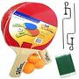 Kit Tenis De Mesa E Ping Pong 2 Raquetes 3 Bolas E 1 Rede