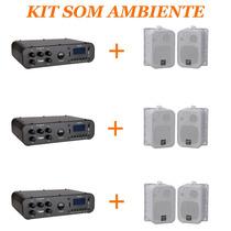 Kit Com 3 Sistemas De Som Ambiente Receiver + 1 Par De Caixa