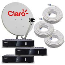Kit Mini Parabolica Digital Claro Tv Livre Com 3 Pontos