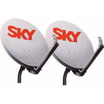 Kit 2 Antenas Offset Sky 60 Cm Banda Ku Completa