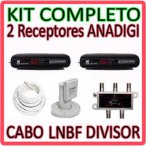 Kit Multiponto 2 Receptores Anadigi + Lnbf + Cabo + Divisor