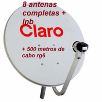 Kit 8 Antenas Banda Ku 60cm +8 Lnb Simples +500 Mts Cabo