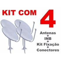 Kit 4 Antenas Banda Ku 60cm +lnb Simples +cabo+conectores