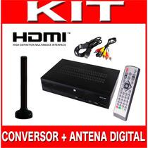 Kit Conversor Tv Digital Gravador H D M I + Antena