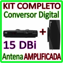 Kit Conversor Tv Digital Gravador + Antena ** Amplificada **