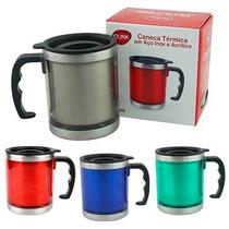 Caneca Mug Termica Inox Acrilico Tampa 450ml