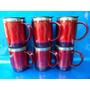6 Canecas Térmica Inox E Acrílico Vermelha E Tampa 400ml#071