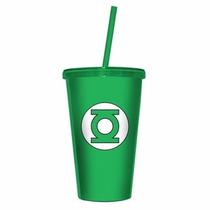 Copo Canudo E Tampa Lanterna Verde Logo - Dc Comics
