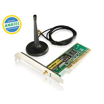 Placa Rede Pci Wireless Sem Fio 54mbps Turbo Antena Externa
