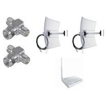 Kit 2 Antenas Aquário 25, 1 Rádio Wr2500 1000mw +2conectores