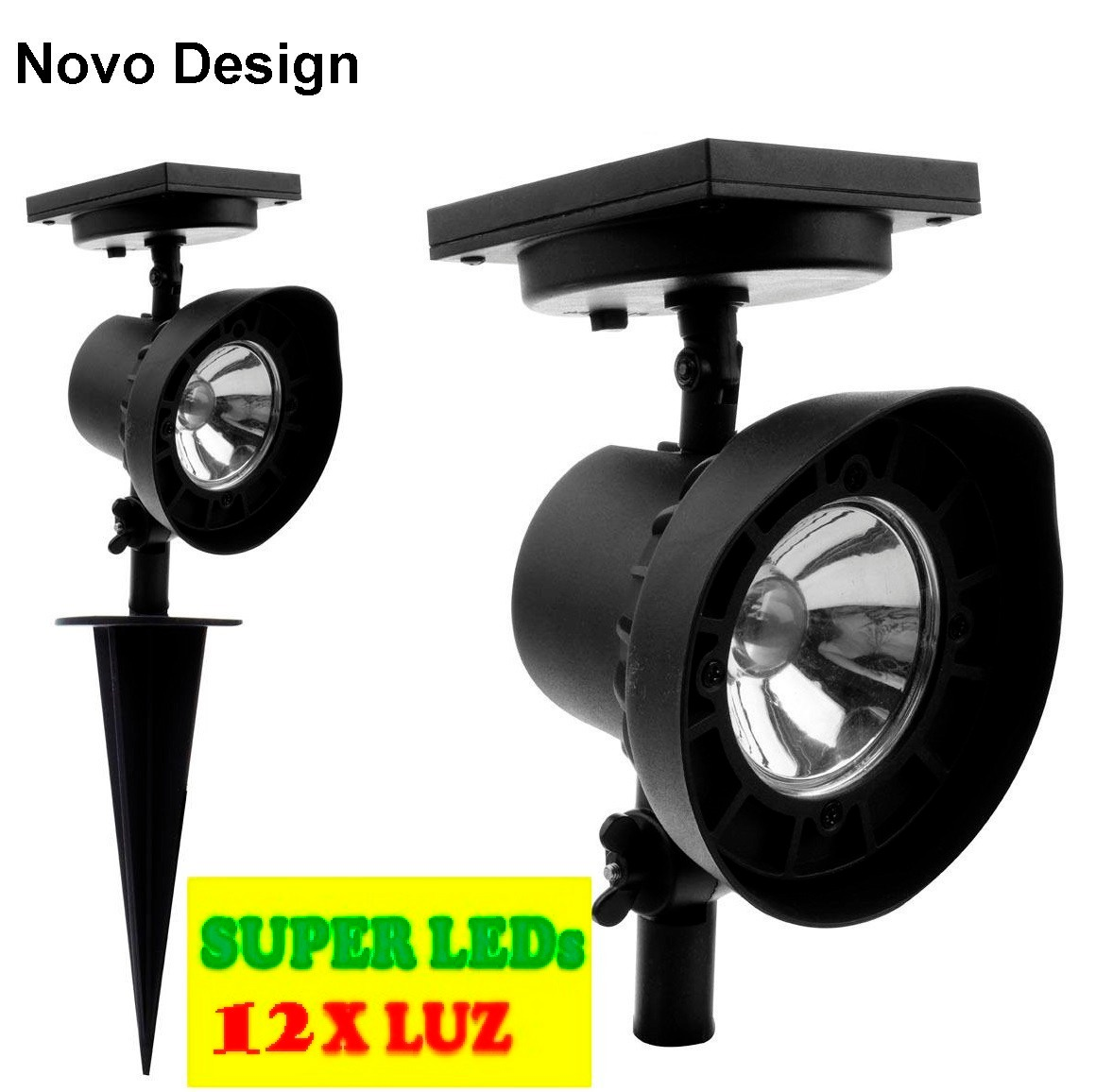 iluminacao jardim solar:Refletor Led Solar Luminária Jardim Spot 6xluz Verde-branca – R$ 49