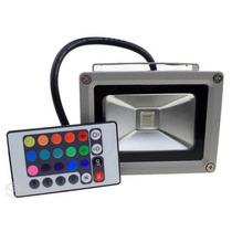 Refletor Holofote Led Rgb 20w Ip65 Prova Dágua Com Controle