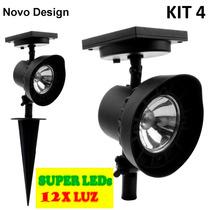 Refletor Led Solar Luminária Jardim Spot 12xluz Kit 4 Branca