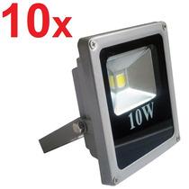 10 Refletor Led 10w Branco Frio Holofote Prova D