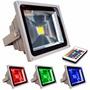 Refletor 10w Rgb Com Controle Holofote Led Colorido Jardim