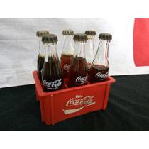 Coca Cola, 6 Mini Garrafas Com Engradado.