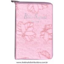 Biblia Sagrada Letra Gigante Ziper Rosa Folha Com Indice Rc