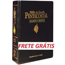 Bíblia Est. Pentecostal C/harpa-preta-luxo-peq.-frete Grátis