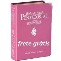 Bíblia Est. Pentecostal C/harpa-rosal-luxo-peq.-frete Grátis