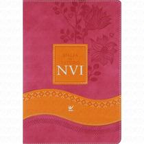 Bíblia De Estudo Nvi Feminina Rosa E Laranja Capa Luxo 2015