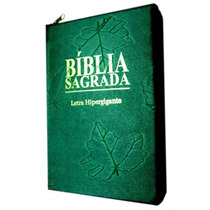 Bíblia Sagrada Letra Hipergigante Capa Com Ziper Verde Folha