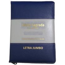 Bíblia Letra Jumbo C/ Harpa Avivada, Corinhos, Zíper [azul]