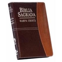 Bíblia Sagrada Média Marrom Harpa Cristã E Zíper 17 X 12cm
