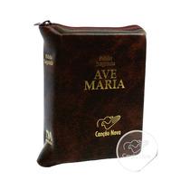 Bíblia Católica Com Zíper Ave Maria Pequena Bolso Couro